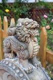 Kirin sculpture. Guarding the garden stock photo