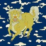 Kirins, κινεζικοί μονόκεροι, μυθικά κινεζικά ζώα διανυσματική απεικόνιση