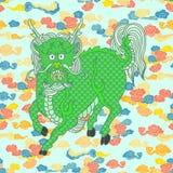 Kirins, κινεζικοί μονόκεροι, μυθικά κινεζικά ζώα απεικόνιση αποθεμάτων