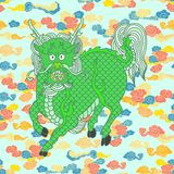Kirins, unicórnios chineses, animais chineses míticos ilustração stock