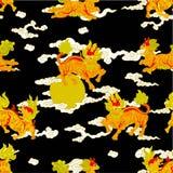 Kirins, unicórnios chineses, animais chineses míticos ilustração do vetor