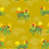 Kirins, unicórnios chineses, animais chineses míticos ilustração royalty free