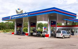 Kirishiautoservice gas station in sunny summer day Royalty Free Stock Photo