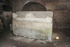 Sarcophagus on stands in the interior of a necropolis in the Bet She`arim National Park. Kiriyat Tivon city in Israel. Kiriyat Tivon, Israel, September 14, 2015 Royalty Free Stock Image