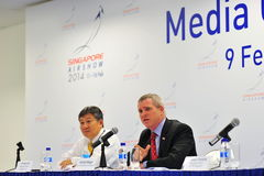 HE Kirk Wagar, US Abassador to Singapore speaking at media conference of Singapore Airshow Stock Images