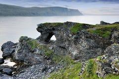 Kirkeporten Rock near Skarsvag, Nordkapp. Norway Royalty Free Stock Photo