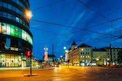 Kirkeristen街道夜视图在奥斯陆,挪威 免版税库存图片