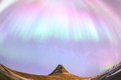 Kirkjufell and Aurora  in Iceland. Stock Photo