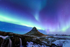 Kirkjufell and Aurora in Iceland. Royalty Free Stock Image