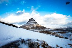 Kirkjufell the eye of the mountain - Iceland stock image