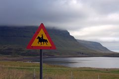 Kirkjufell mountain and the horse riding road sign Royalty Free Stock Image