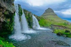 Kirkjufell mountain , and the Kirkjufellsfoss waterfalls Stock Image