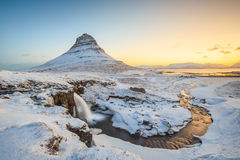 Kirkjufell mountain with water falls, Iceland Stock Images