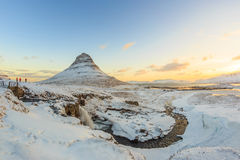 Kirkjufell mountain with water falls, Iceland Royalty Free Stock Photos