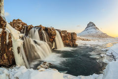 Kirkjufell mountain with water falls, Iceland Royalty Free Stock Photo