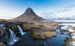 Kirkjufell Mountain With Waterfalls Royalty Free Stock Photography