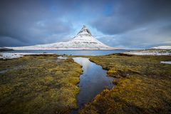 Kirkjufell is one of the most beautiful mountains in Iceland royalty free stock image