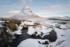 Kirkjufell. In soft daytime light Royalty Free Stock Photos