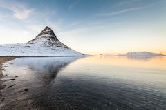 Kirkjufell view during winter snow royalty free stock image