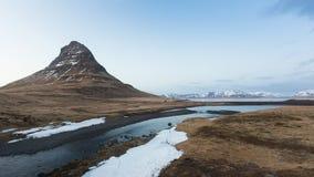 Kirkjufell Volcanic Mountain During Late Winter Stock Image