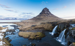 Kirkjufell volcano mountain with waterfall Stock Images