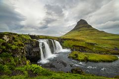 Kirkjufell waterfall and mountain, an Iceland landscape. Stock Photography