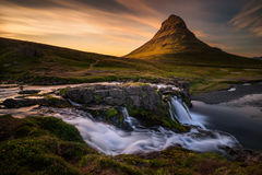 Kirkjufell waterfalls stock image