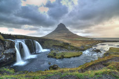 Kirkjufellfoss and Kirkjufell mountain. Stock Photography