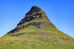Kirkjufells mountain in summer at sunset iceland royalty free stock photo