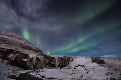 Kirkjufellsa Aurora. The aurora stretches over Kirjufellsa Royalty Free Stock Images