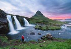 Kirkjufellsfoss - the most beautiful waterfall in Iceland Stock Images