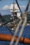 The wooden brig, Lady Washington, sails on Lake Washington Stock Photo