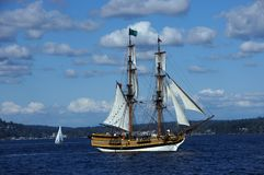 The wooden brig, Lady Washington, sails on Lake Washington Royalty Free Stock Photo