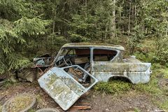 Car Graveyard in Smaland Royalty Free Stock Photography