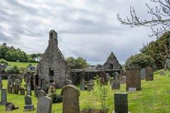 Kirkoswold Kirk Ruins und altes KirkYard im S?dayrshire-rind Schottland stockbild