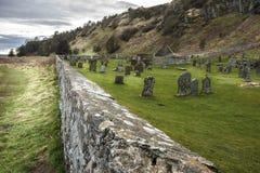 Churchyard at Kirkside Cemetery, St. Cyrus, Aberdeenshire, Scotland stock image