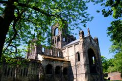 Kirkstall Abbey, Leeds, England. Kirkstall Abbey is a ruined Cistercian monastery in Kirkstall north-west of Leeds city centre in West Yorkshire, England. It is Stock Photos