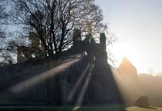Kirkstall Abbey, Leeds, West Yorkshire. Sun rays through mist, Kirkstall Abbey, Leeeds, West Yorkshire Stock Photography
