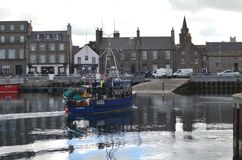 Harbour and inshore fishing fleet in Kirkwall, Mainland island, Orkney Scotland. Kirkwall is the largest settlement and capital of Orkney, an archipelago in the Stock Images