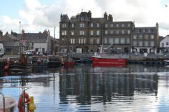Harbour and inshore fishing fleet in Kirkwall, Mainland island, Orkney Scotland. Kirkwall is the largest settlement and capital of Orkney, an archipelago in the Royalty Free Stock Images