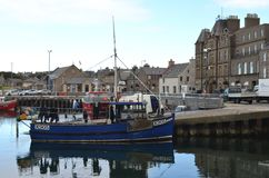 Harbour and inshore fishing fleet in Kirkwall, Mainland island, Orkney Scotland. Kirkwall is the largest settlement and capital of Orkney, an archipelago in the Royalty Free Stock Photos