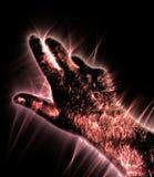Kirlian-Auraphotographie einer gl?henden menschlichen m?nnlichen Hand, die unterschiedliche Symbole und Show von H?nden zeigt vektor abbildung