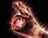 Kirlian-Auraphotographie einer gl?henden menschlichen m?nnlichen Hand, die unterschiedliche Symbole und Show von H?nden zeigt lizenzfreie abbildung