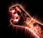 Kirlian-Auraphotographie einer gl?henden menschlichen m?nnlichen Hand, die unterschiedliche Symbole und Show von H?nden zeigt stock abbildung