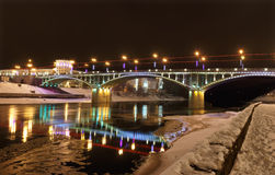 Kirov bridge at night. Illuminated Kirov bridge at Vibesk Stock Photography