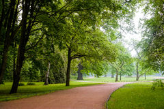 Kirov central park in misty cloudy morning Royalty Free Stock Image