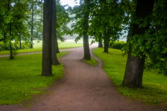 Kirov central park in misty cloudy morning Stock Images