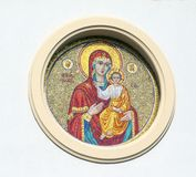 Kirovograd, Ukraine. May 2-2016. Mother of God, with nimbus on his head, Baby Jesus in her arms royalty free stock image