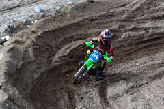 KIROVSK,RUSSIA-AUGUST 24: Races competitions on motorcycles on a. Cross-country terrain in the city of Kirovsk, Russia, AUGUSTUS 24 2013. In Russia the youth royalty free stock images