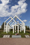 KIROVSK, RUSSIA -  SEPTEMBER 13, 2015: Photo of Memorial Ghost Village. Monument burnt village Arbuzovo. Stock Photos